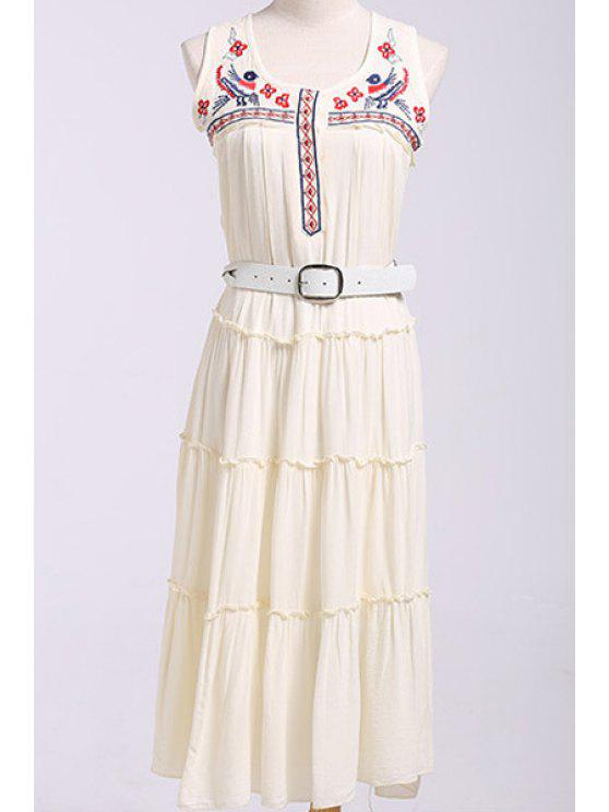 outfits Sleeveless Embroidery Draped Midi Dress - WHITE S