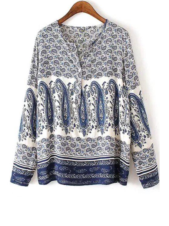 womens V Neck Paisley Print Long Sleeve Shirt - COLORMIX M