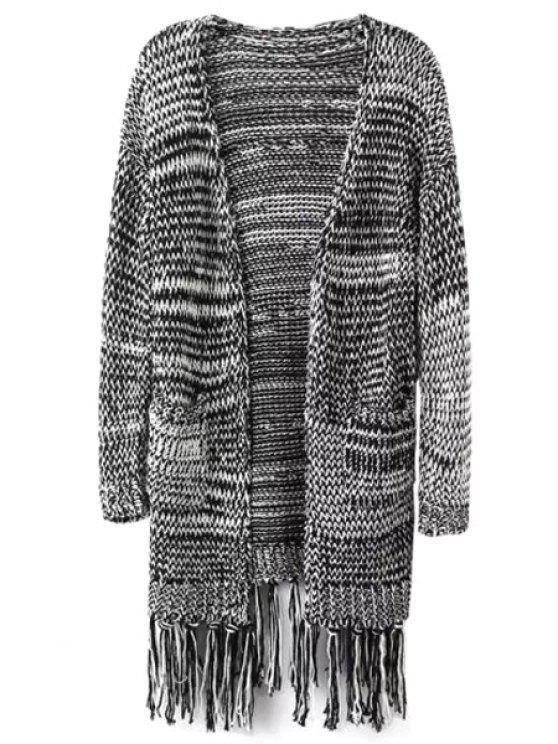 trendy Long Sleeve Color Block Stripe Cardigan - GRAY S