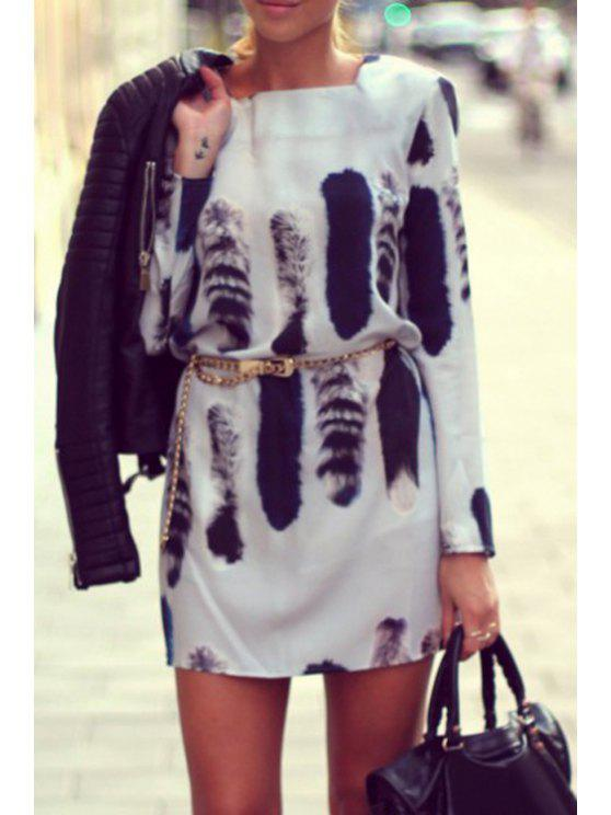 new Tail Print Square Neck Long Sleeve Dress - WHITE S