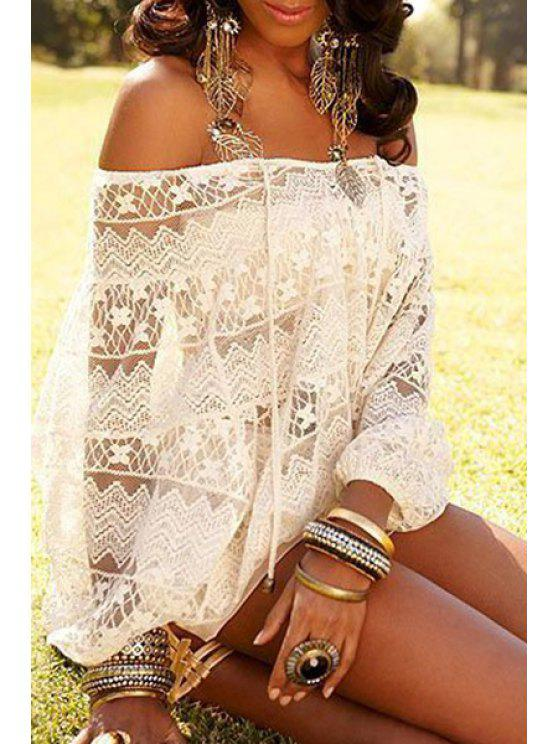 shop See-Through Lace Slash Neck Blouse - WHITE ONE SIZE(FIT SIZE XS TO M)