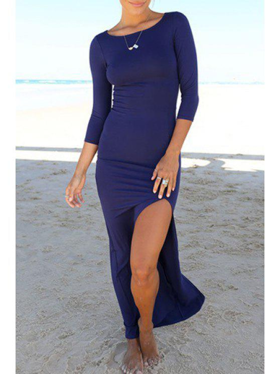 unique 3/4 Sleeve High Slit Bodycon Maxi Dress - SAPPHIRE BLUE S