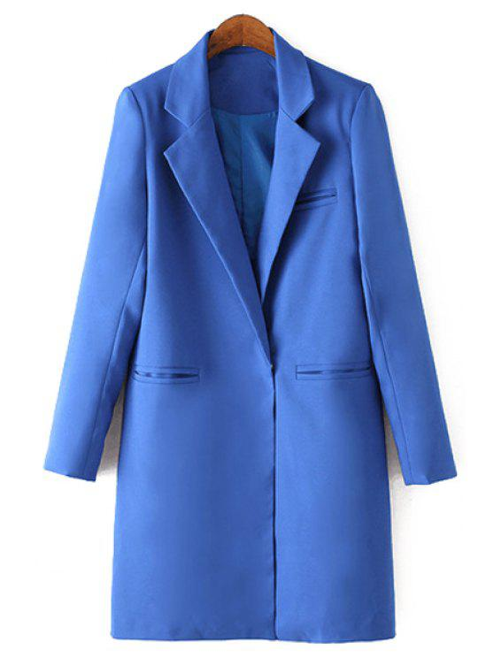 hot Lapel Solid Color Straight Long Sleeve Blazer - SAPPHIRE BLUE XL