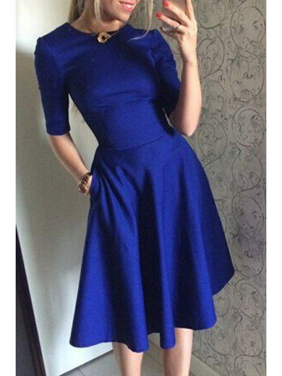 affordable Solid Color Slimming Half Sleeve Dress - BLUE S