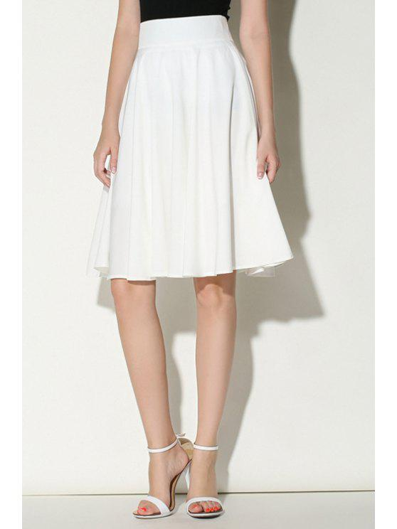 online Solid Color Ruffled A-Line Midi Skirt - WHITE S