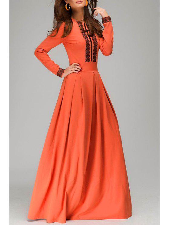 chic Jewel Neck Black Lace Splicing Dress - ORANGE S