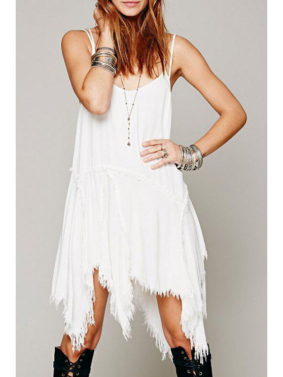 trendy Solid Color Irregular Hem Cami Dress - WHITE S