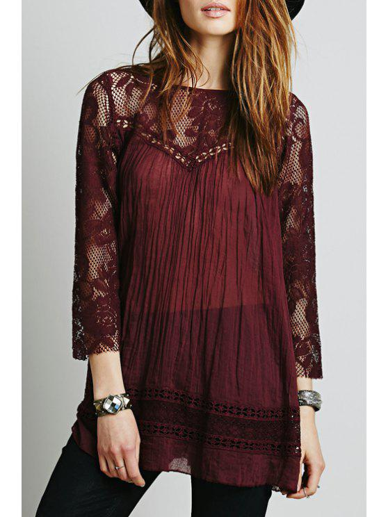 shops Lace Spliced Scoop Neck 3/4 Sleeve Blouse - CLARET S