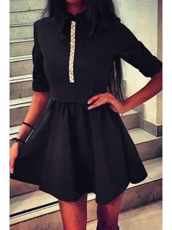 ladies White Lace Splicing 3/4 Sleeve Dress - BLACK S