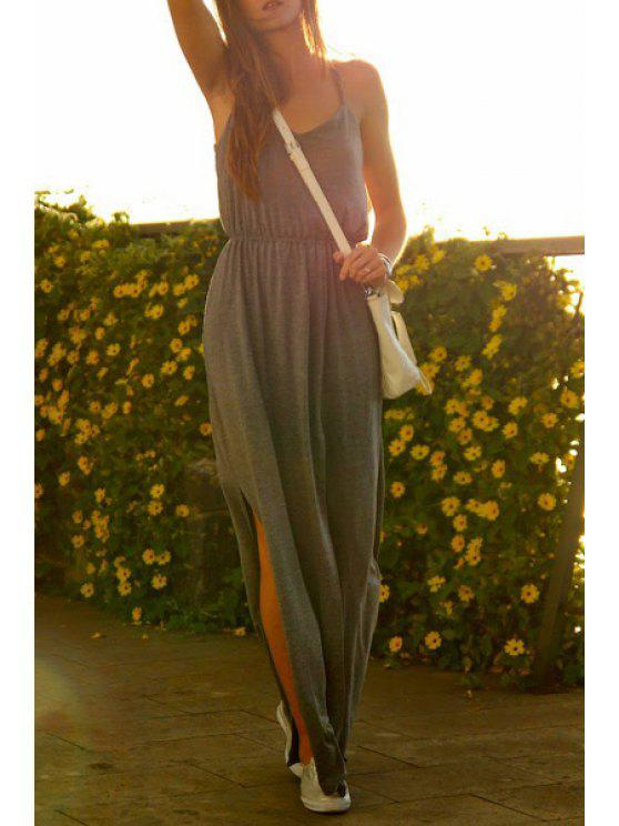 buy Spaghetti Strap High Slit Gray Maxi Dress - GRAY S