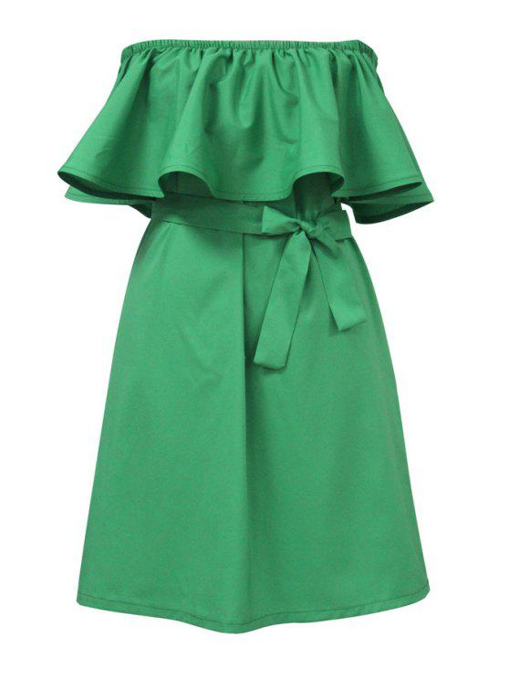 hot Ruffles Spliced Slash Collar Dress - GREEN ONE SIZE(FIT SIZE XS TO M)