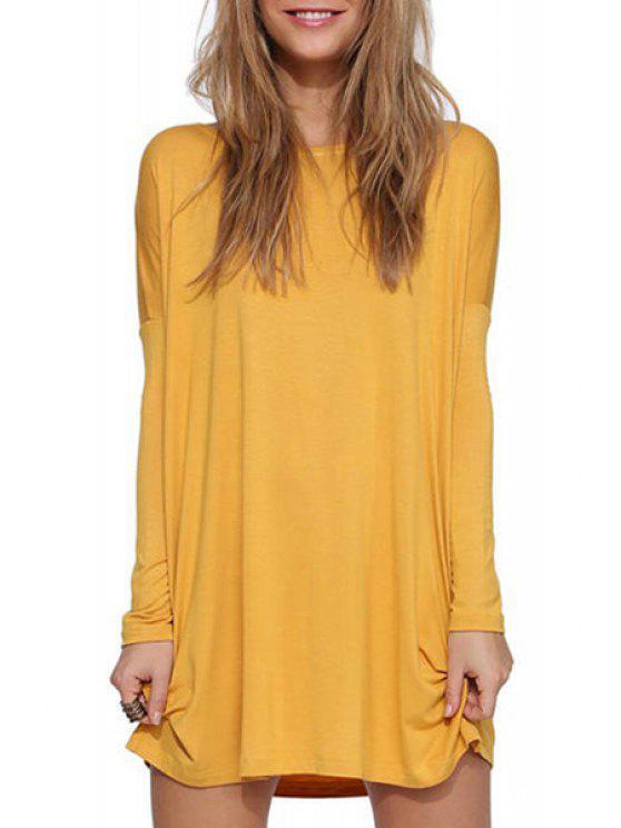 unique Solid Color Scoop Neck Long Sleeve Dress - YELLOW L