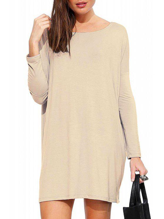 ladies Solid Color Scoop Neck Long Sleeve Dress - KHAKI L