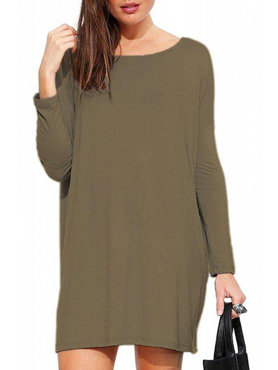 online Solid Color Scoop Neck Long Sleeve Dress - ARMY GREEN S