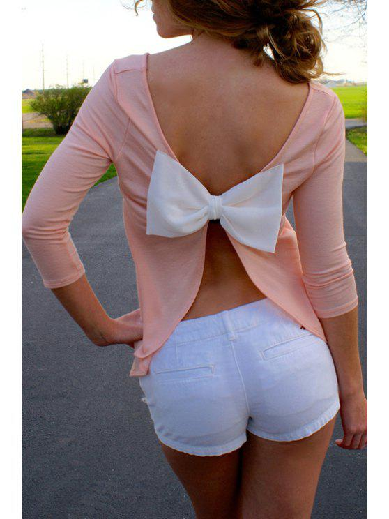 fancy Hollow Back Bowknot Embellished Pink T-Shirt - PINK S
