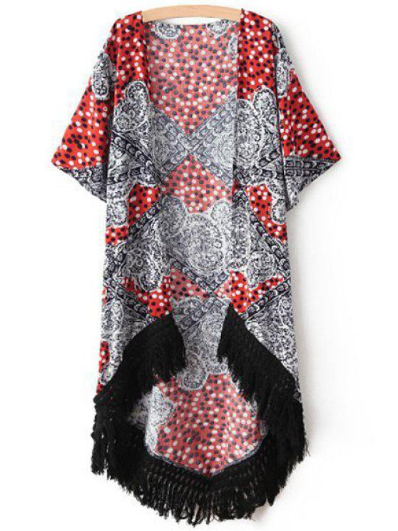 hot Polka Dot Print Half Sleeve Kimono - BLACK AND WHITE AND RED M