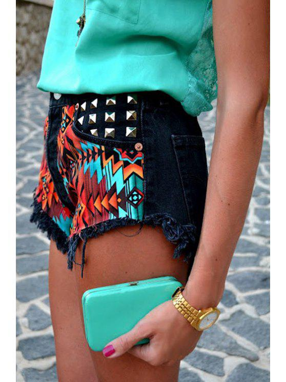 unique Rivet Embellished Printed Shorts - BLACK S