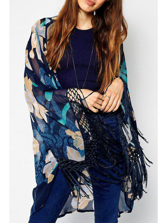 latest Floral Collarless Long Sleeve Kimono - AS THE PICTURE S