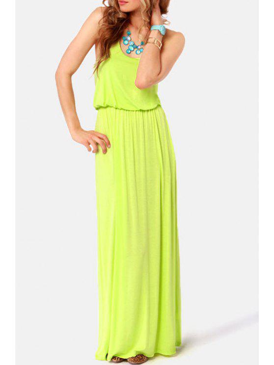 hot Sleeveless Racerback Elastic Waist Dress - GREEN S