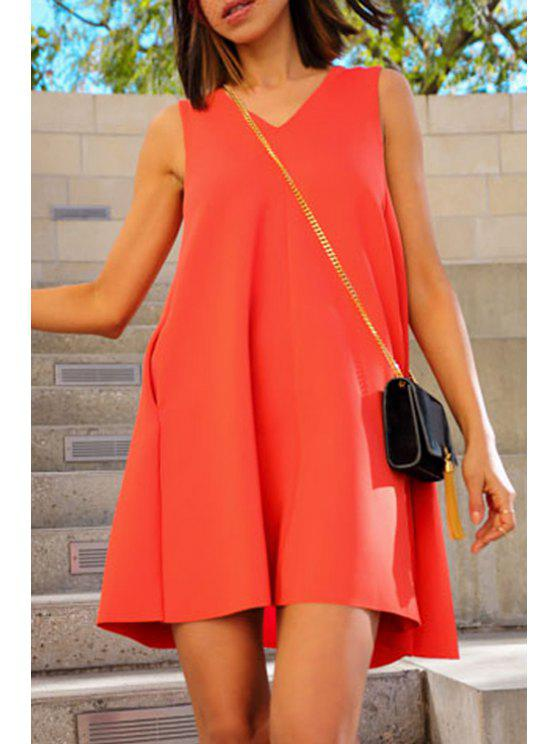 sale Solid Color Sleeveless Flare Dress - JACINTH XL