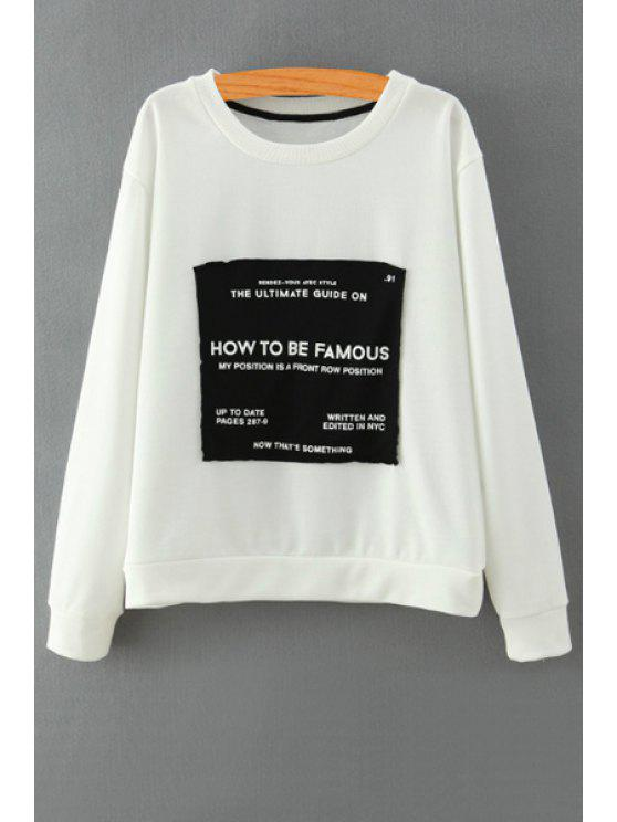 outfit Patch Design Long Sleeve Sweatshirt - WHITE S
