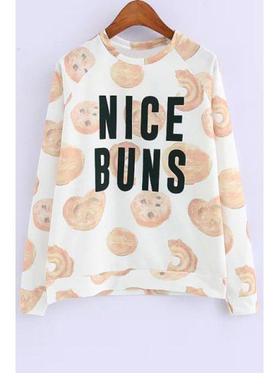 shops Cookie Print Long Sleeve Sweatshirt - AS THE PICTURE S
