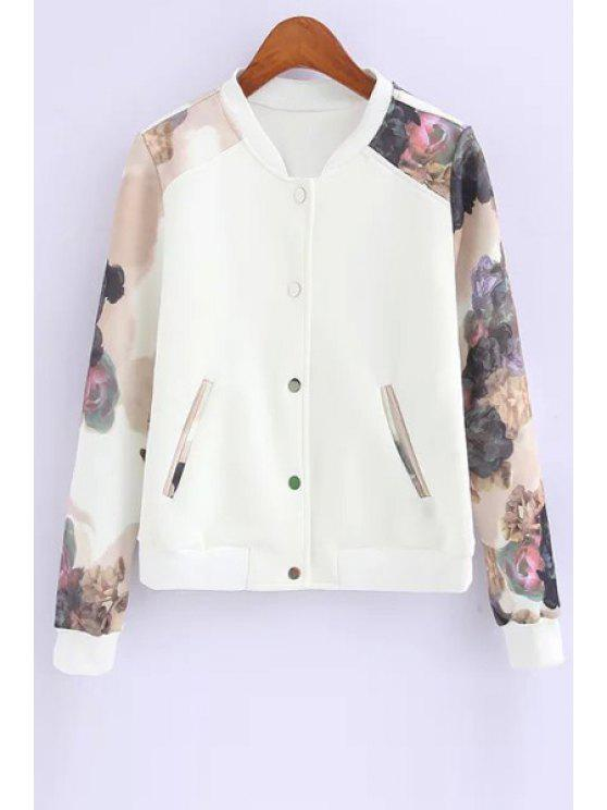 affordable Floral Spliced Stand Neck Baseball Jacket - WHITE S