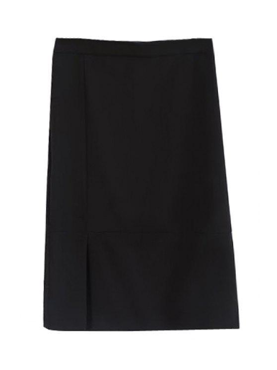 fancy Black High Waisted Bodycon Skirt - BLACK L