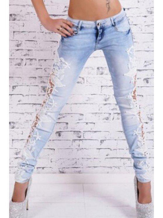 shops Floral Lace Splicing Snow Wash Jeans - AZURE S