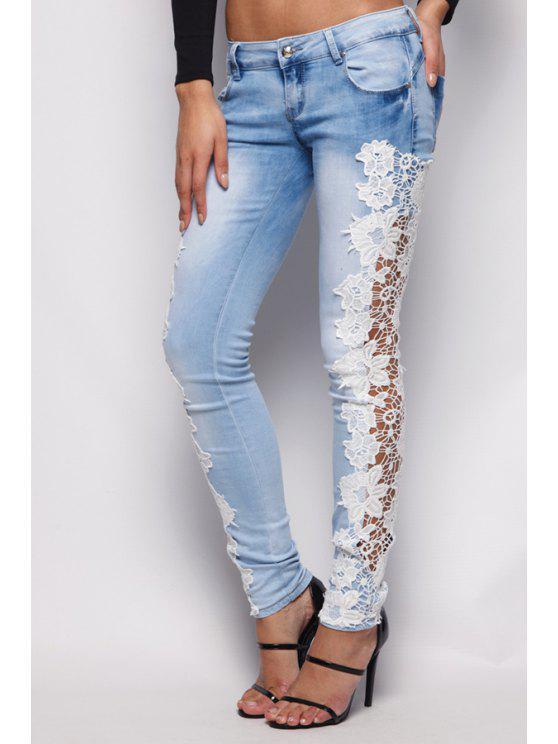 buy Floral Lace Splicing Bleach Wash Jeans - LIGHT BLUE S