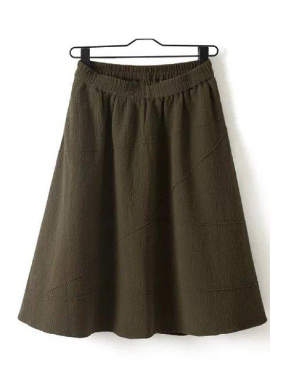 outfit Solid Color Ruffled Midi Skirt - COFFEE ONE SIZE(FIT SIZE XS TO M)