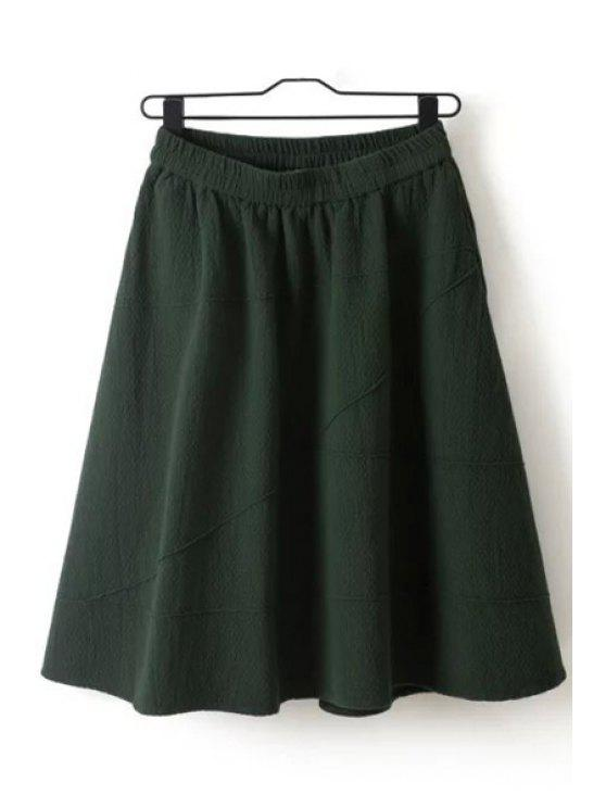 shop Solid Color Ruffled Midi Skirt - BLACKISH GREEN ONE SIZE(FIT SIZE XS TO M)