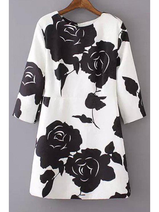 buy Black Rose Print 3/4 Sleeve Dress - WHITE AND BLACK S