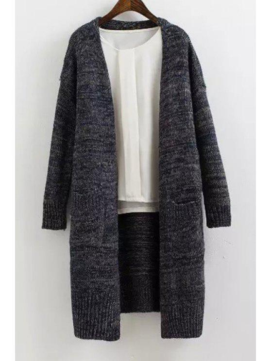 ladies Solid Color Long Sleeves Maxi Cardigan - BLUE ONE SIZE(FIT SIZE XS TO M)