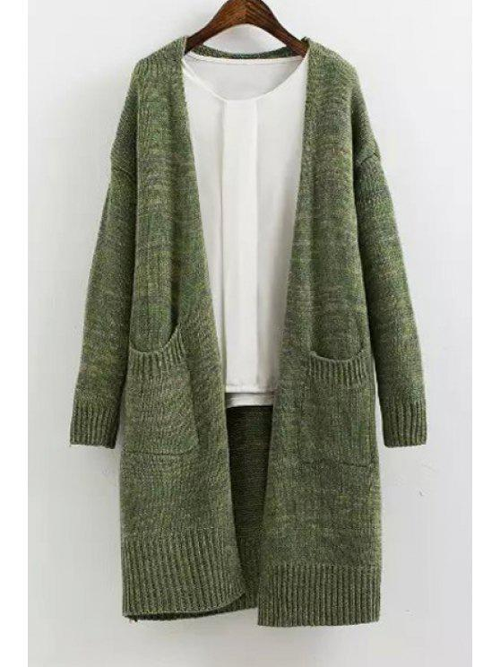 best Solid Color Long Sleeves Maxi Cardigan - GREEN ONE SIZE(FIT SIZE XS TO M)