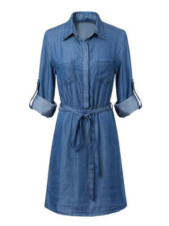latest Blue Denim Shirt Neck Long Sleeve Dress - BLUE S
