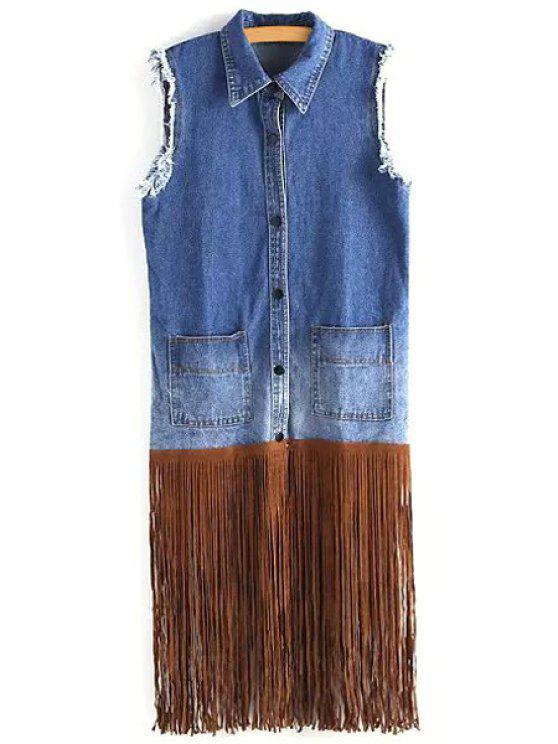 trendy Tassels Spliced Denim Waistcoat - BLUE M