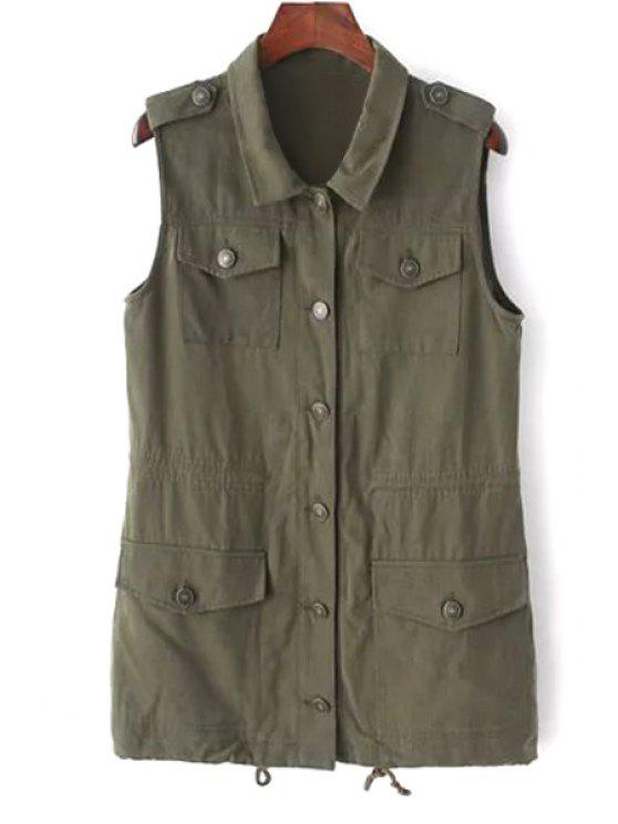 outfit Turn Down Collar Solid Color Waistcoat - ARMY GREEN M