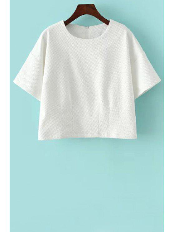 hot White Jewel Neck Short Sleeve T-Shirt - WHITE S