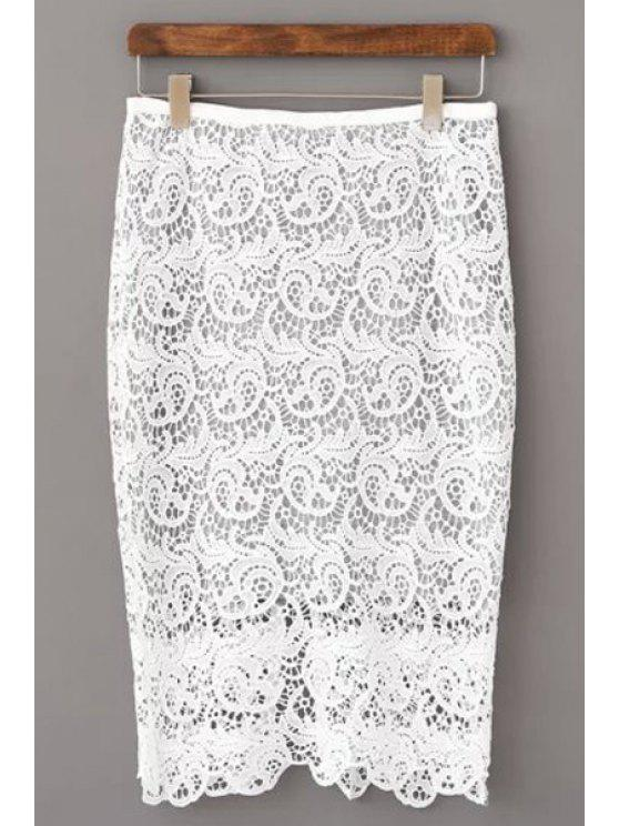 unique Openwork Lace Hook Pencil Skirt - WHITE M