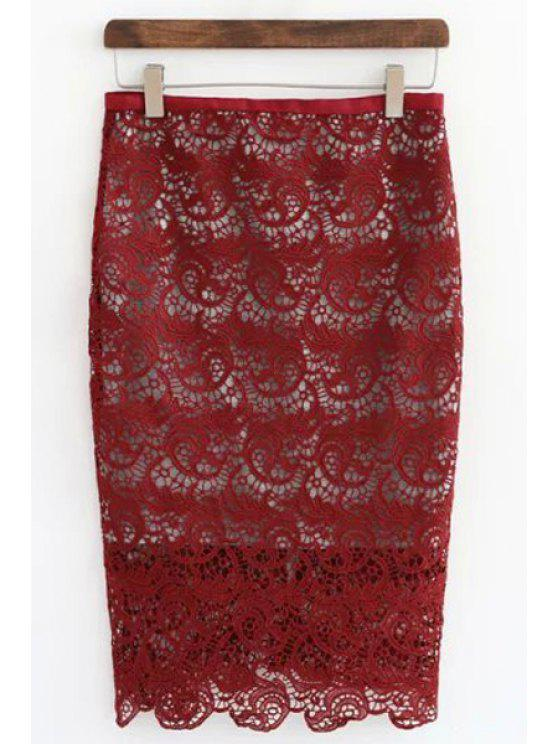 women Openwork Lace Hook Pencil Skirt - RED L