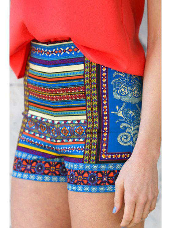 online Colorful Floral Stripe Print Shorts - COLORMIX L