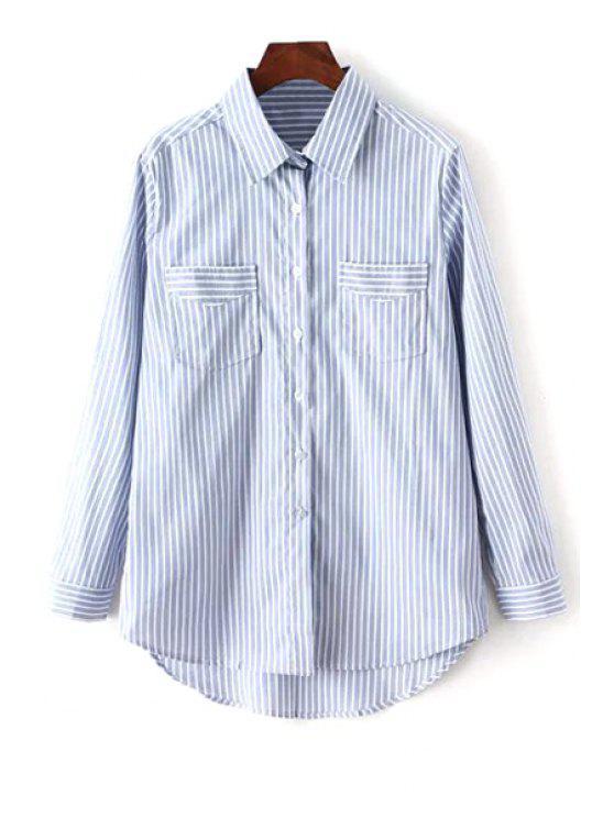 buy Stripes Shirt Neck Long Sleeves Shirt - LIGHT BLUE S