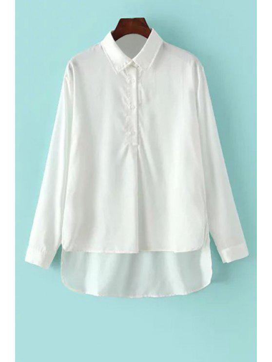 lady White High Low Shirt Neck Long Sleeve Shirt - WHITE ONE SIZE(FIT SIZE XS TO M)