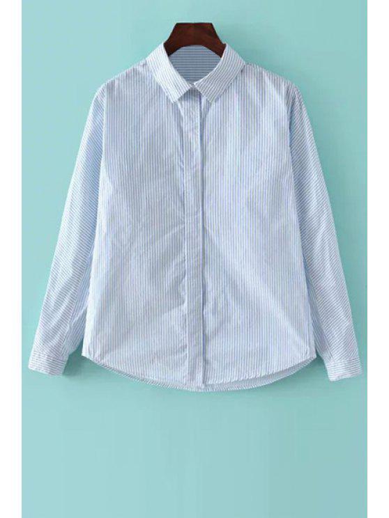 best Blue Striped Shirt Neck Long Sleeve Shirt - LIGHT BLUE S