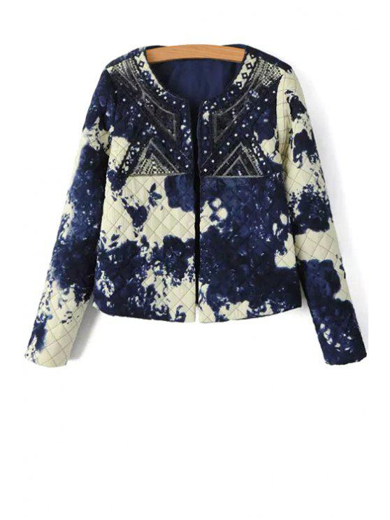 hot Open Front Printed Sequined Thick Coat - BLUE AND WHITE S