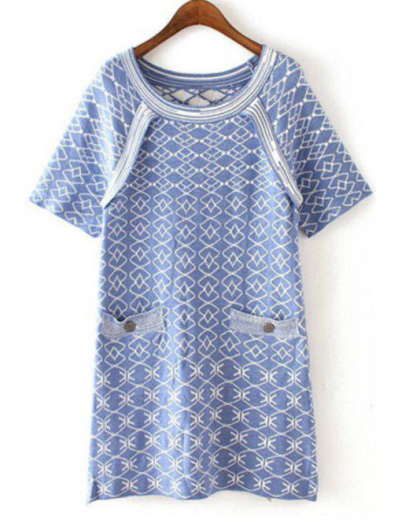unique Geometric Pattern Jarcquard Sweater Dress - LIGHT BLUE ONE SIZE(FIT SIZE XS TO M)