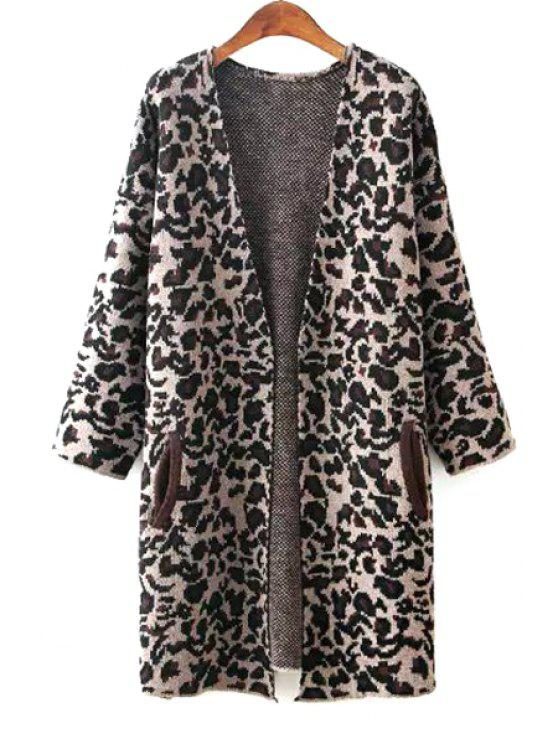 shops Open Front Leopard Print Long Cardigan - BEIGE ONE SIZE(FIT SIZE XS TO M)