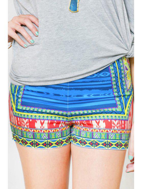 lady Color Block Stripe Print Shorts - COLORMIX S