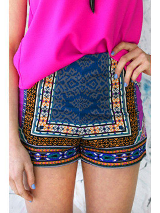 chic Printed Color Block Shorts - COLORMIX XL